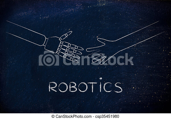 human and robot hands about to touch, robotics - csp35451980