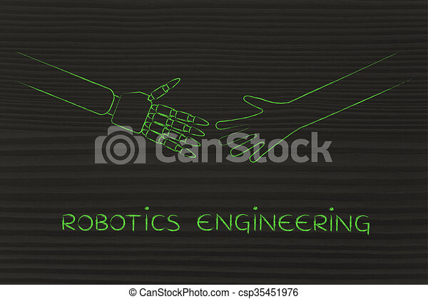 human and robot hands about to touch, robotics engineering - csp35451976