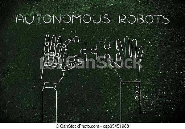 human and robot hands solving a puzzle, autonomous robots - csp35451988