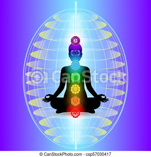 Human aura with seven sparkling chakras - csp57030417