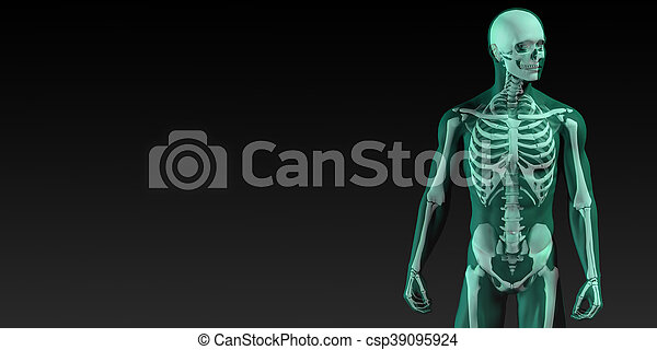 Human bone structure diagram in blue and black.