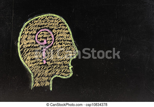 Human brain and colorful question mark draw on blackboard - csp10834378