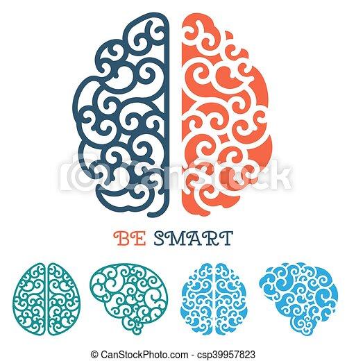 Human Brain Logo Or Thinking Label Vector Human Linear Vector