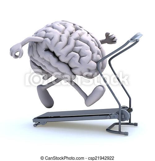 human brain on a running machine - csp21942922