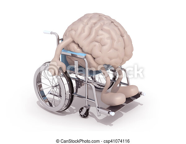 human brain with arms and legs on a wheelchair - csp41074116
