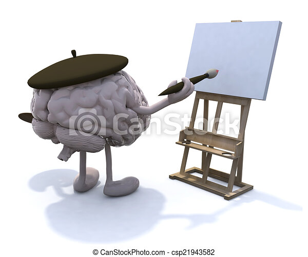 human brain with arms and legs, painter - csp21943582