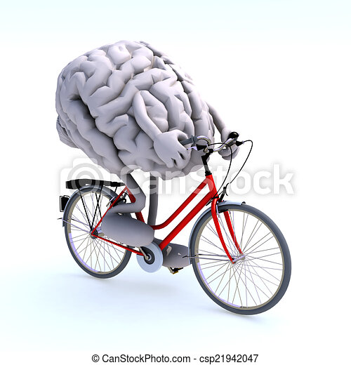 human brain with arms and legs riding a bicycle - csp21942047