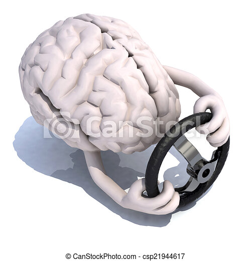 human brain with arms and steering wheel car - csp21944617