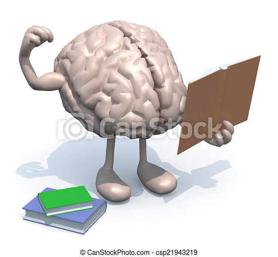 human brain with arms, legs and many books on hand - csp21943219