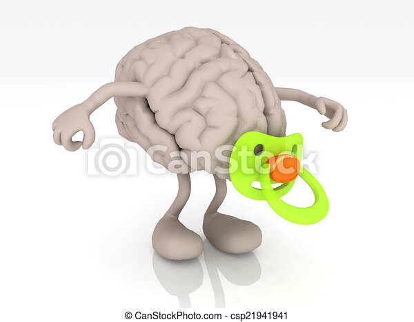 human brain with arms legs and pacifier - csp21941941