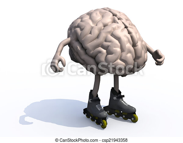 human brain with arms, legs and rollerskates - csp21943358