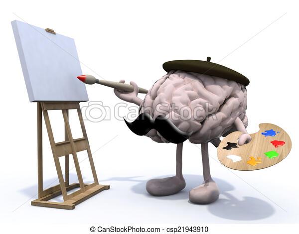 human brain with arms, legs, moustache painter - csp21943910