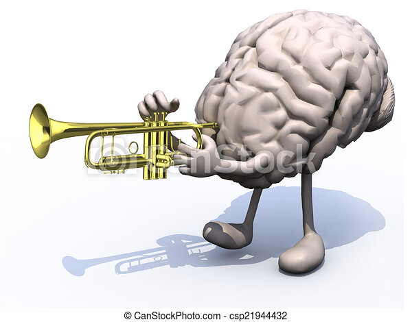 human brain with arms, legs playng trumpet - csp21944432