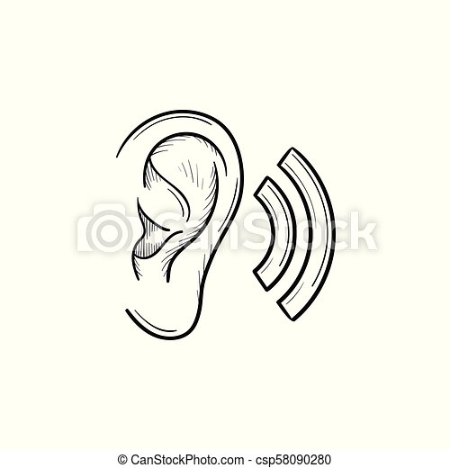 human ear with sound waves hand drawn outline doodle icon human ear