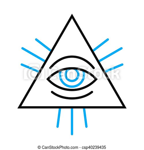 Human Eye Symbol Inside A Pyramid Isolated Single Human Eye Symbol