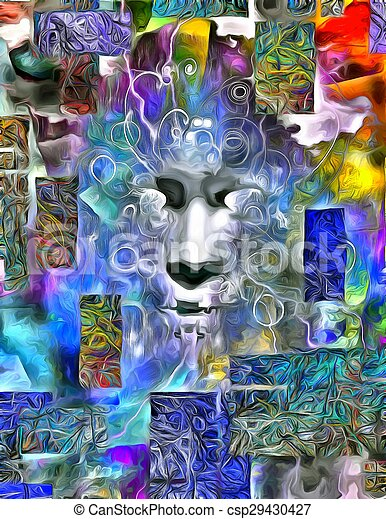 Human Face Abstract Dimensional Painting - csp29430427