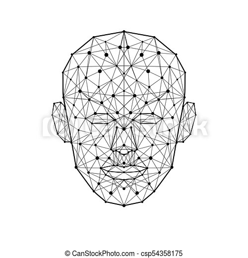 Human face low polygon. wireframe mash head shape isolated on white ...
