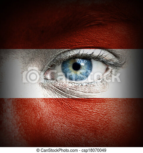 Human face painted with flag of Austria - csp18070049