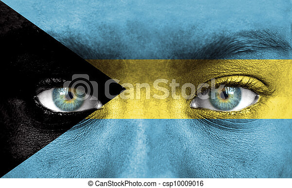 Human face painted with flag of Bahamas - csp10009016
