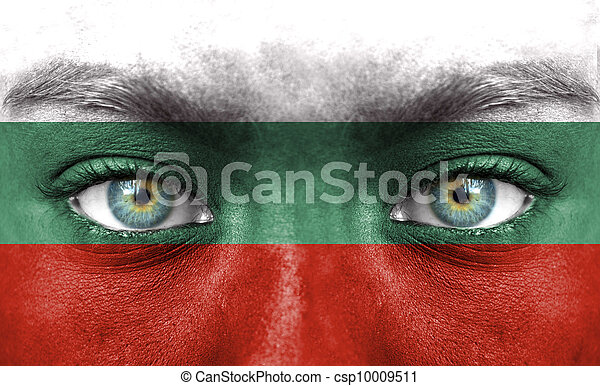 Human face painted with flag of Bulgaria - csp10009511