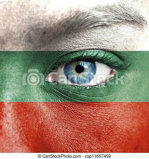 Human face painted with flag of Bulgaria - csp11657459
