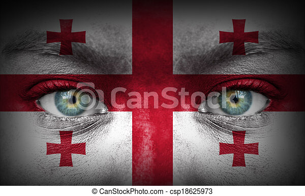 Human face painted with flag of Georgia - csp18625973