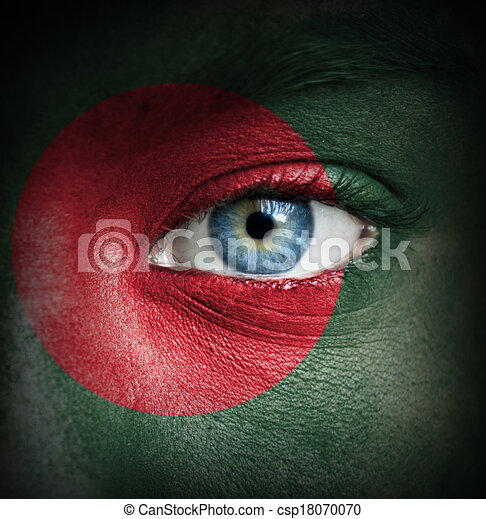 Human face painted with flag of Bangladesh - csp18070070