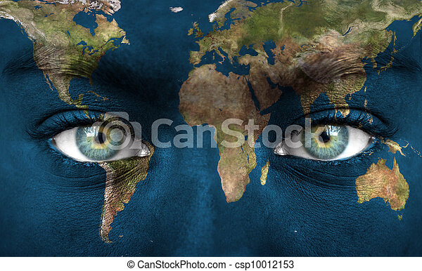 Human face painted with planet earth - csp10012153
