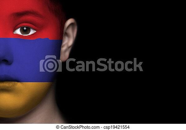 Human face with flag of Armenia - csp19421554