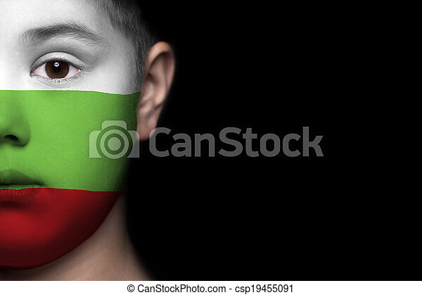 Human face with flag of Bulgaria - csp19455091