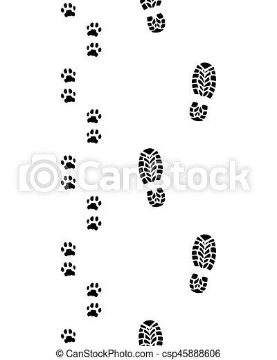 Human Feet And Dog Paws