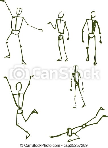 Human Figrure E Hand Drawn Vector Illustration Or Drawing Of Some Human Body Positions