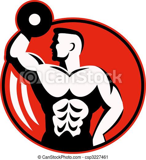 human figure body builder lifting a dumbbell set inside a circle. - csp3227461