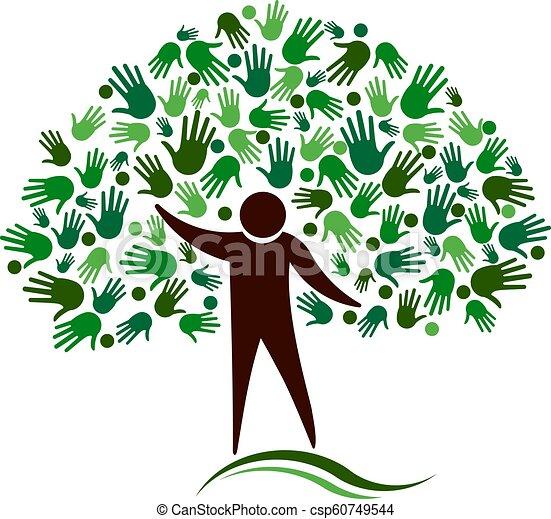 Human Figure Tree with Hands Network Vector logo - csp60749544