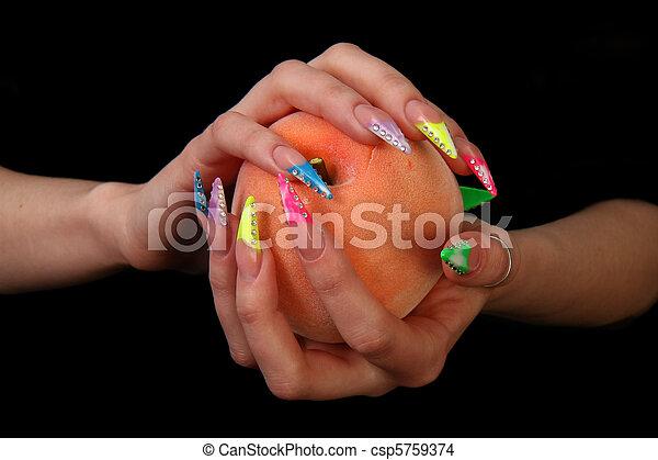 Human fingers with long fingernail  - csp5759374