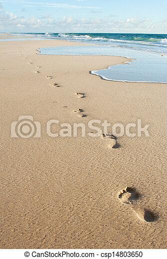 Human footprints on the beach sand - csp14803650