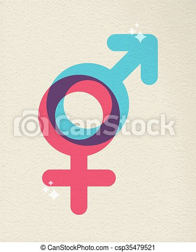 Human Gender Symbol Colorful Of Male Female Gender Icon Vector