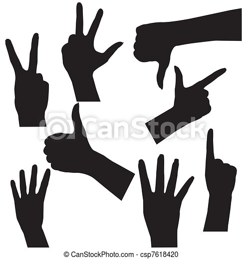 Human Hand collection, different hands, gestures, signals and signs. Vector icon set - csp7618420