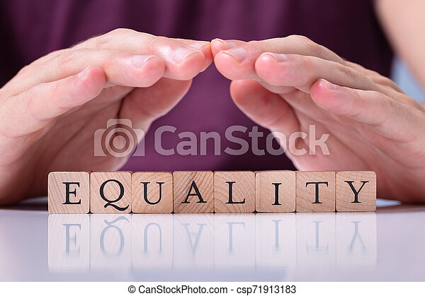 Human Hand Protecting Equality Word On Wooden Blocks - csp71913183
