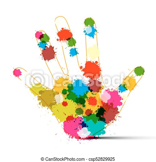 Human Hand with Colorful Splashes. Art Creation Symbol. - csp52829925