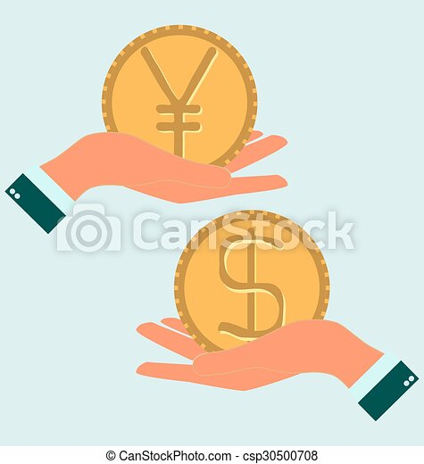 Human Hand With Currency Symbols For Market And Stock Money