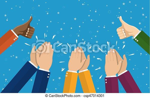 Human hands clapping. applaud hands. vector illustration ...