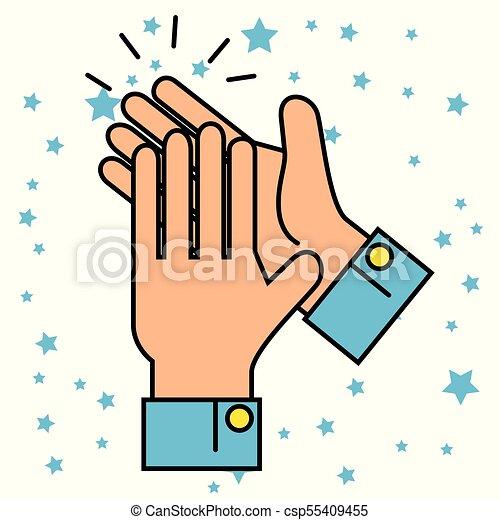 Human hands clapping ovation applaud hands vector ...