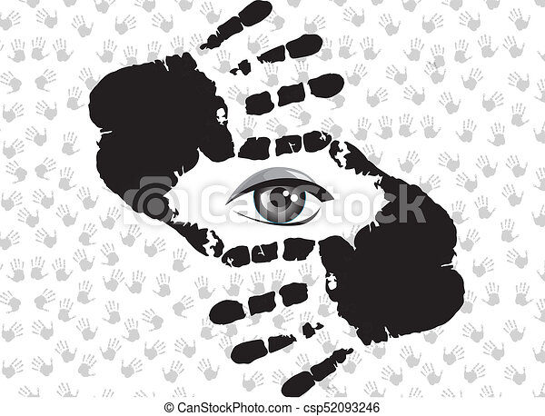 Human Hands Doing Crop Symbol Wiyh Eye Inside Black And White