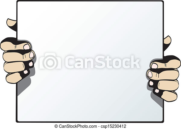 Human hands holding blank advertising card isolated on white background - csp15230412