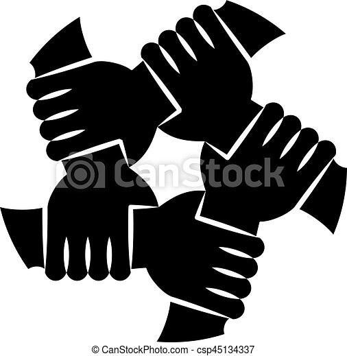 vector illustration of five human hands silhouettes holding