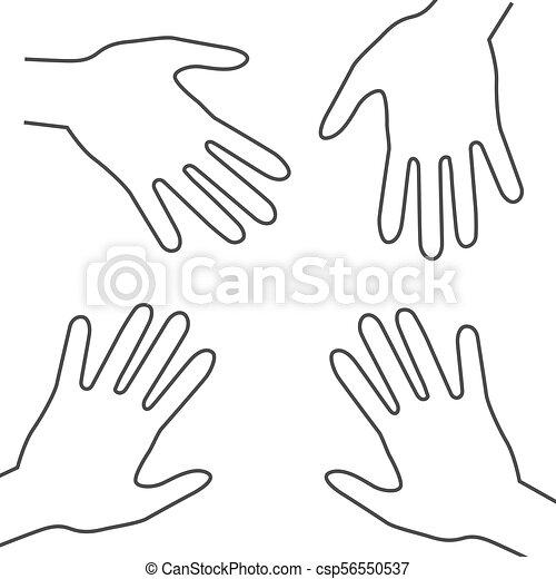 Human Hands. Vector Outline Palm Hand Symbols. - csp56550537