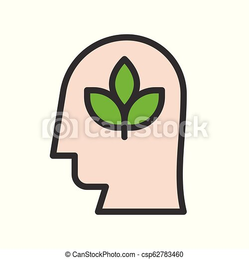 Human head and branch leaves, save natural concept, filled line design - csp62783460
