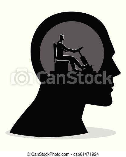 Human head being controlled by a businessman - csp61471924