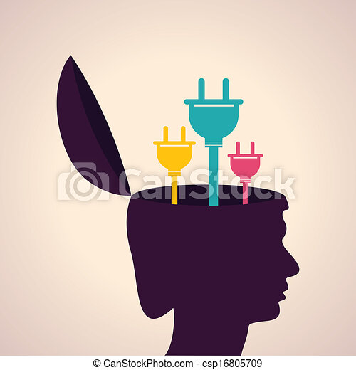 Human head with electric plugs - csp16805709